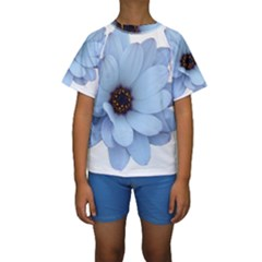 Daisy Flower Floral Plant Summer Kids  Short Sleeve Swimwear