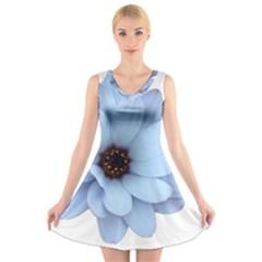 Daisy Flower Floral Plant Summer V Neck Sleeveless Skater Dress