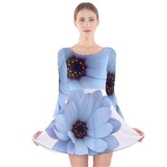 Daisy Flower Floral Plant Summer Long Sleeve Velvet Skater Dress