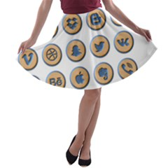 Social Media Icon Icons Social A Line Skater Skirt
