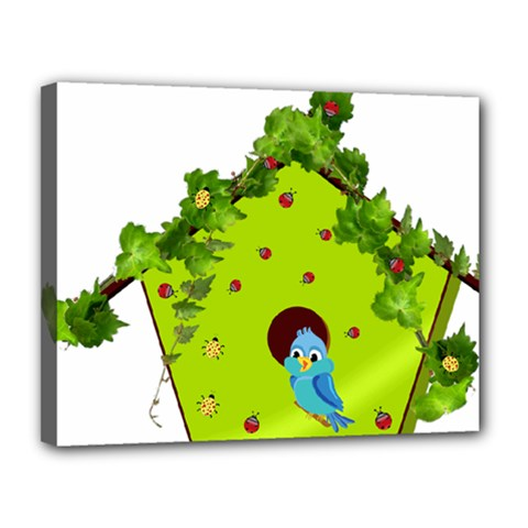 Bluebird Bird Birdhouse Avian Canvas 14  X 11