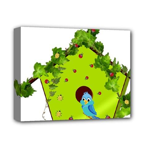 Bluebird Bird Birdhouse Avian Deluxe Canvas 14  x 11