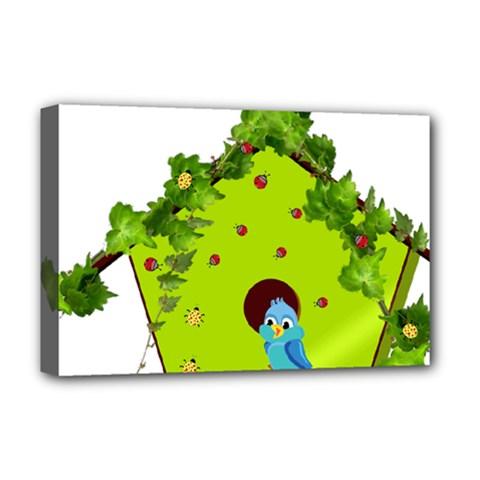 Bluebird Bird Birdhouse Avian Deluxe Canvas 18  X 12