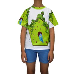 Bluebird Bird Birdhouse Avian Kids  Short Sleeve Swimwear