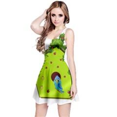 Bluebird Bird Birdhouse Avian Reversible Sleeveless Dress