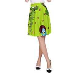 Bluebird Bird Birdhouse Avian A-Line Skirt