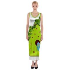 Bluebird Bird Birdhouse Avian Fitted Maxi Dress