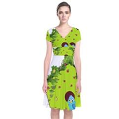 Bluebird Bird Birdhouse Avian Short Sleeve Front Wrap Dress