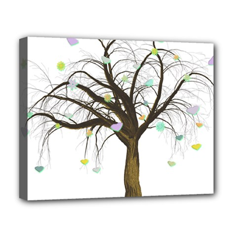 Tree Fantasy Magic Hearts Flowers Deluxe Canvas 20  X 16