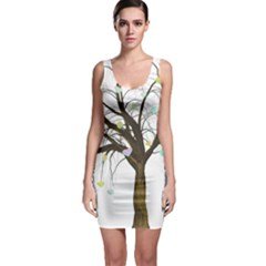 Tree Fantasy Magic Hearts Flowers Sleeveless Bodycon Dress