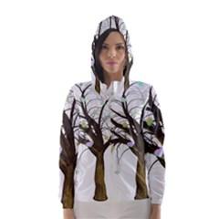Tree Fantasy Magic Hearts Flowers Hooded Wind Breaker (women)