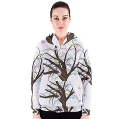 Tree Fantasy Magic Hearts Flowers Women s Zipper Hoodie