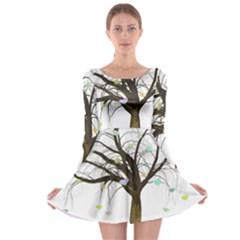 Tree Fantasy Magic Hearts Flowers Long Sleeve Skater Dress