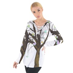 Tree Fantasy Magic Hearts Flowers Women s Tie Up Tee
