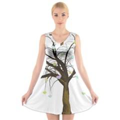 Tree Fantasy Magic Hearts Flowers V Neck Sleeveless Skater Dress