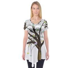 Tree Fantasy Magic Hearts Flowers Short Sleeve Tunic