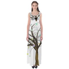 Tree Fantasy Magic Hearts Flowers Empire Waist Maxi Dress