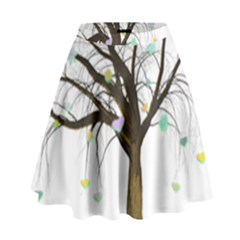 Tree Fantasy Magic Hearts Flowers High Waist Skirt