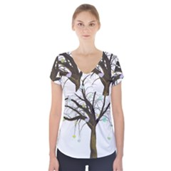 Tree Fantasy Magic Hearts Flowers Short Sleeve Front Detail Top