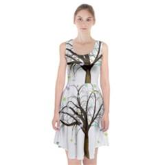 Tree Fantasy Magic Hearts Flowers Racerback Midi Dress