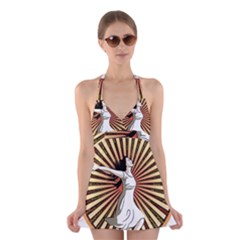 Woman Power Glory Affirmation Halter Swimsuit Dress