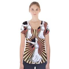 Woman Power Glory Affirmation Short Sleeve Front Detail Top