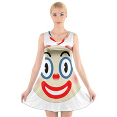 Clown Funny Make Up Whatsapp V-Neck Sleeveless Skater Dress