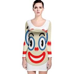 Clown Funny Make Up Whatsapp Long Sleeve Velvet Bodycon Dress