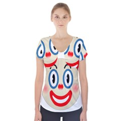 Clown Funny Make Up Whatsapp Short Sleeve Front Detail Top
