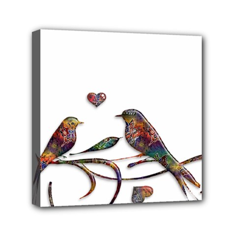 Birds Abstract Exotic Colorful Mini Canvas 6  x 6