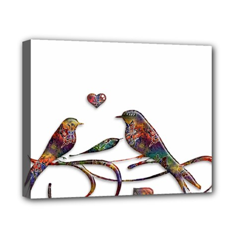 Birds Abstract Exotic Colorful Canvas 10  X 8