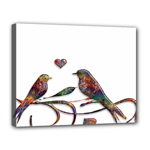 Birds Abstract Exotic Colorful Canvas 14  x 11