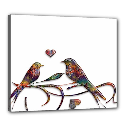 Birds Abstract Exotic Colorful Canvas 24  X 20