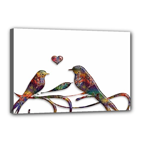 Birds Abstract Exotic Colorful Canvas 18  x 12
