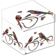Birds Abstract Exotic Colorful Storage Stool 12