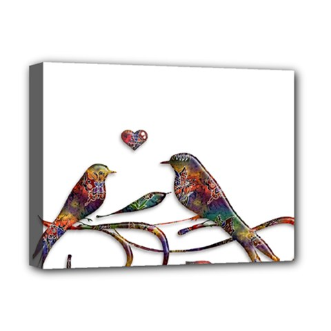 Birds Abstract Exotic Colorful Deluxe Canvas 16  X 12