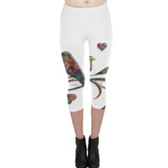 Birds Abstract Exotic Colorful Capri Leggings