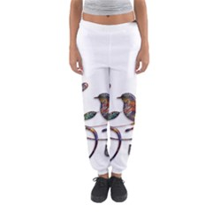 Birds Abstract Exotic Colorful Women s Jogger Sweatpants