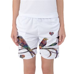 Birds Abstract Exotic Colorful Women s Basketball Shorts