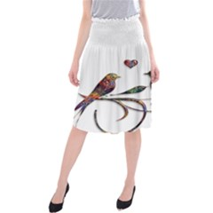 Birds Abstract Exotic Colorful Midi Beach Skirt