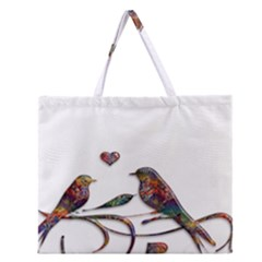 Birds Abstract Exotic Colorful Zipper Large Tote Bag