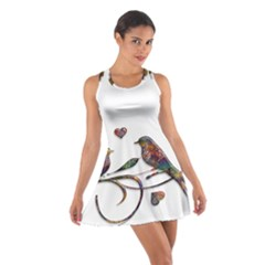 Birds Abstract Exotic Colorful Cotton Racerback Dress