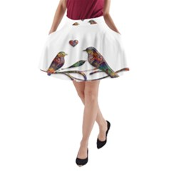 Birds Abstract Exotic Colorful A-Line Pocket Skirt