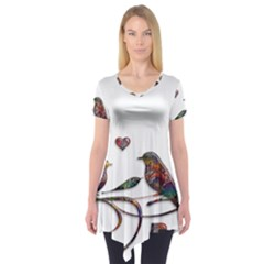 Birds Abstract Exotic Colorful Short Sleeve Tunic