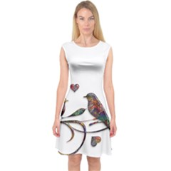 Birds Abstract Exotic Colorful Capsleeve Midi Dress