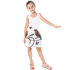 Birds Abstract Exotic Colorful Kids  Sleeveless Dress