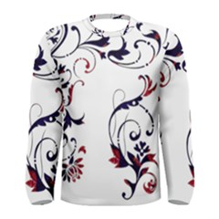 Scroll Border Swirls Abstract Men s Long Sleeve Tee