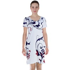 Scroll Border Swirls Abstract Short Sleeve Nightdress