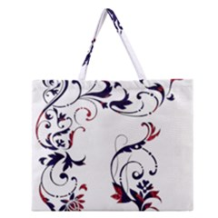Scroll Border Swirls Abstract Zipper Large Tote Bag