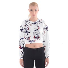Scroll Border Swirls Abstract Cropped Sweatshirt